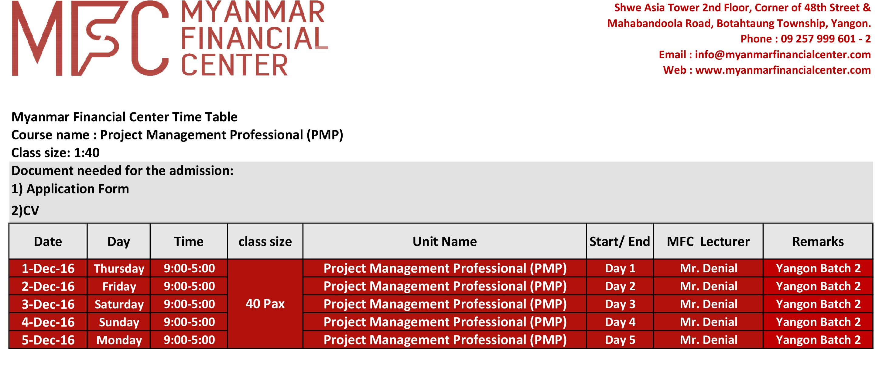 MES Timetable (Yangon Batch 2)